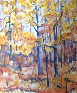 "Autumn Forrest 8""x 10"", Watercolor, 2013"
