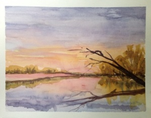 "Sunset Lake 8""x 10"", Watercolor,2013"