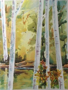 "Birches  9""x11"", watercolor, 2013"