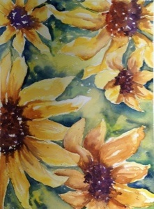 "Sunflowers 9""x12"", watercolor, 2013"
