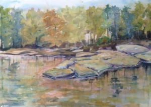 "Flat-rock Creek  14""x 20"", Watercolor,  2013"