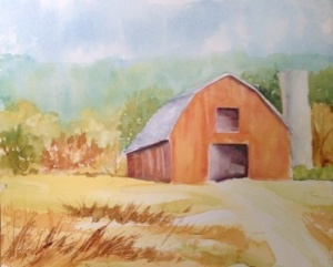 "The Barn 9""x 11"", watercolor, 2013"