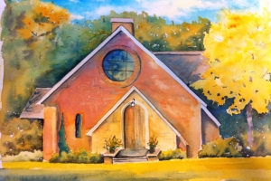 silver bay chapel 16 x 20 watercolor MED